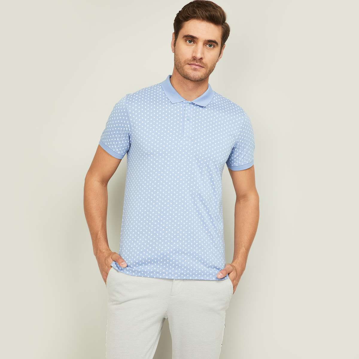 CODE Men Printed Regular Fit Polo T-shirt