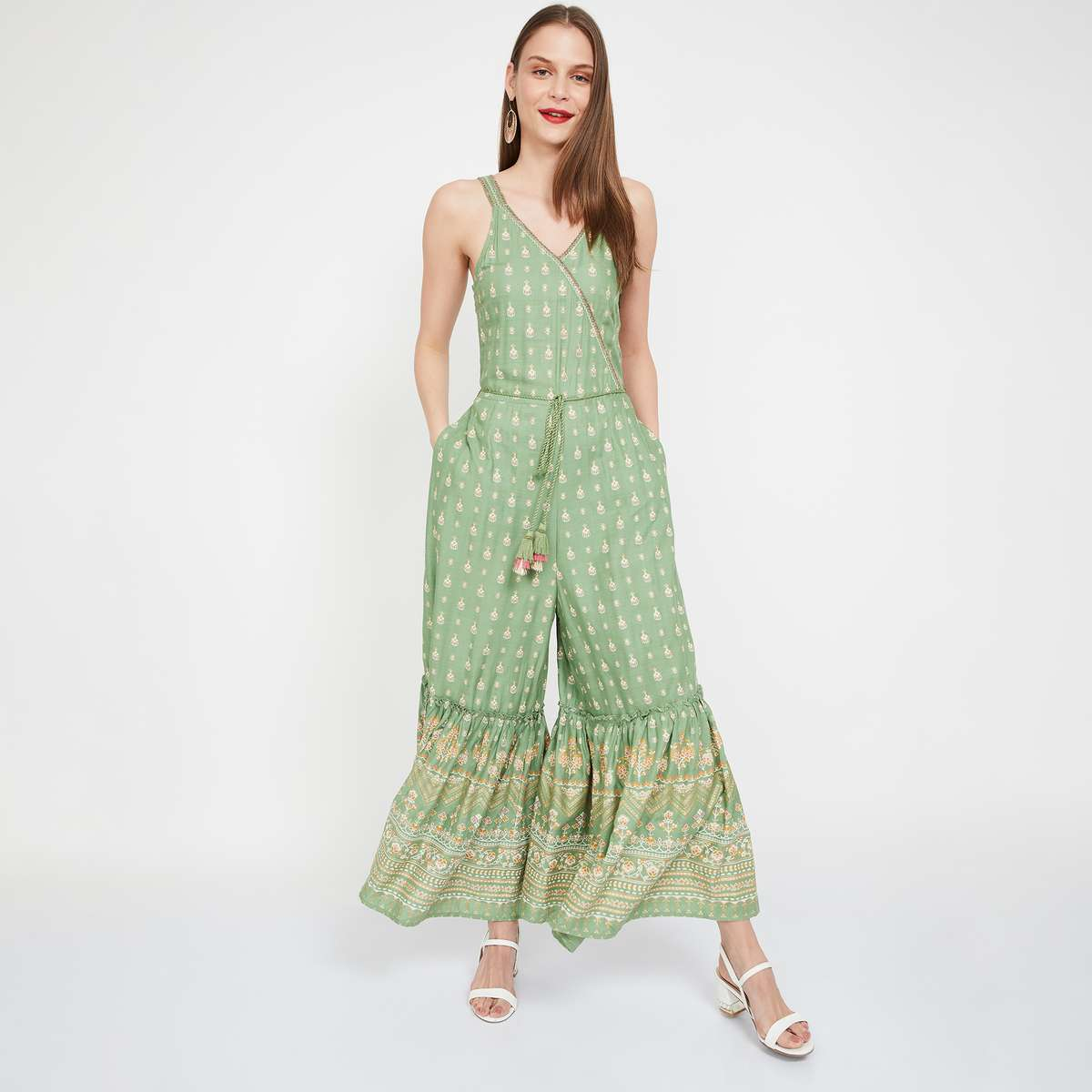 GLOBAL DESI Printed Sleeveless Jumpsuit with Surplice Neck