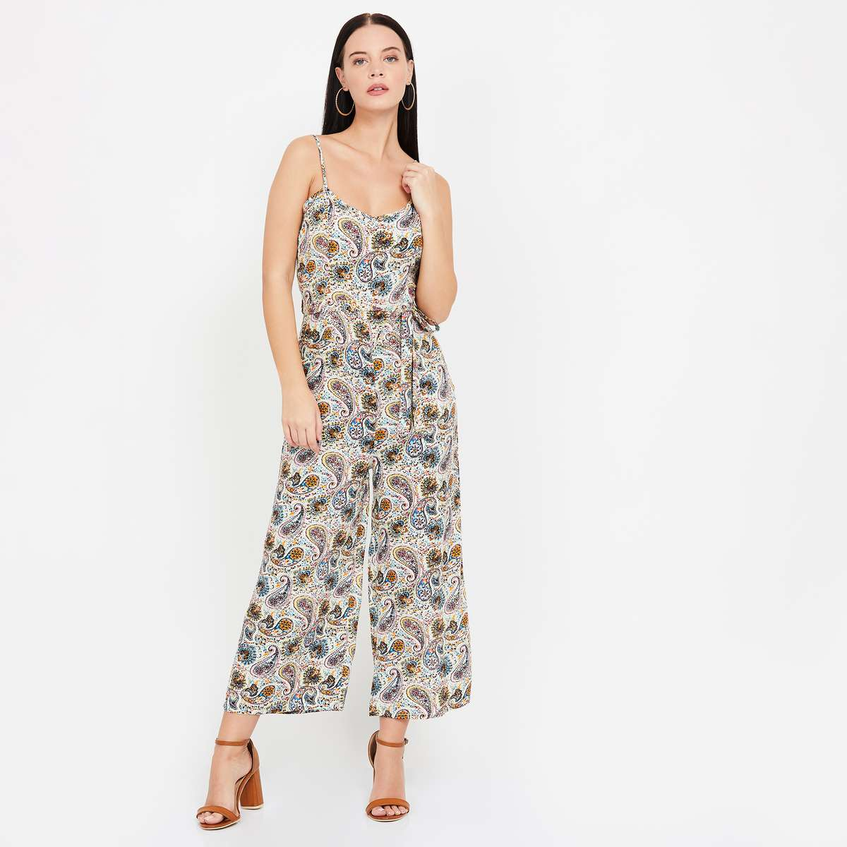 GINGER Printed Sleeveless Jumpsuit