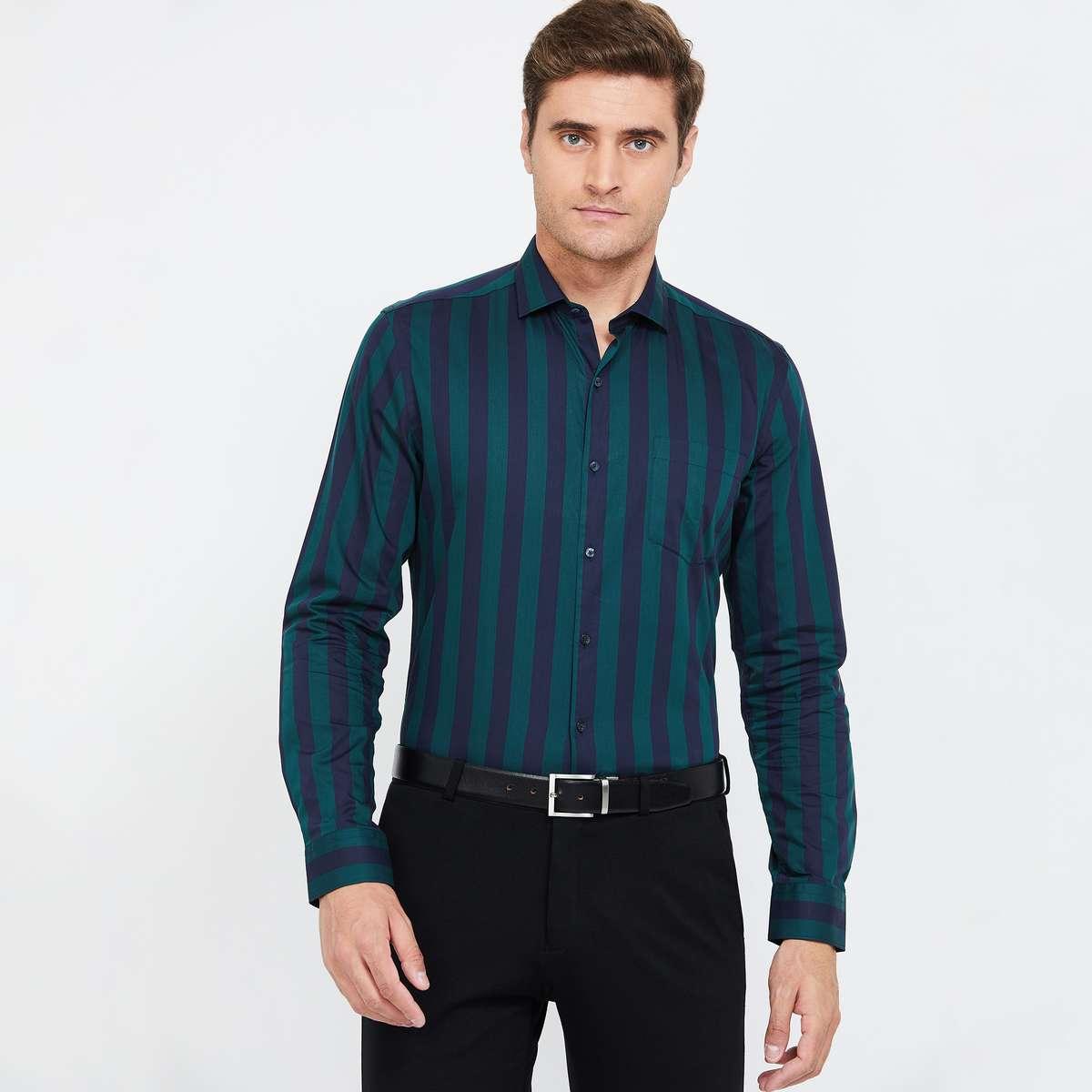 CODE Men Striped Full Sleeves Slim Fit Formal Shirt
