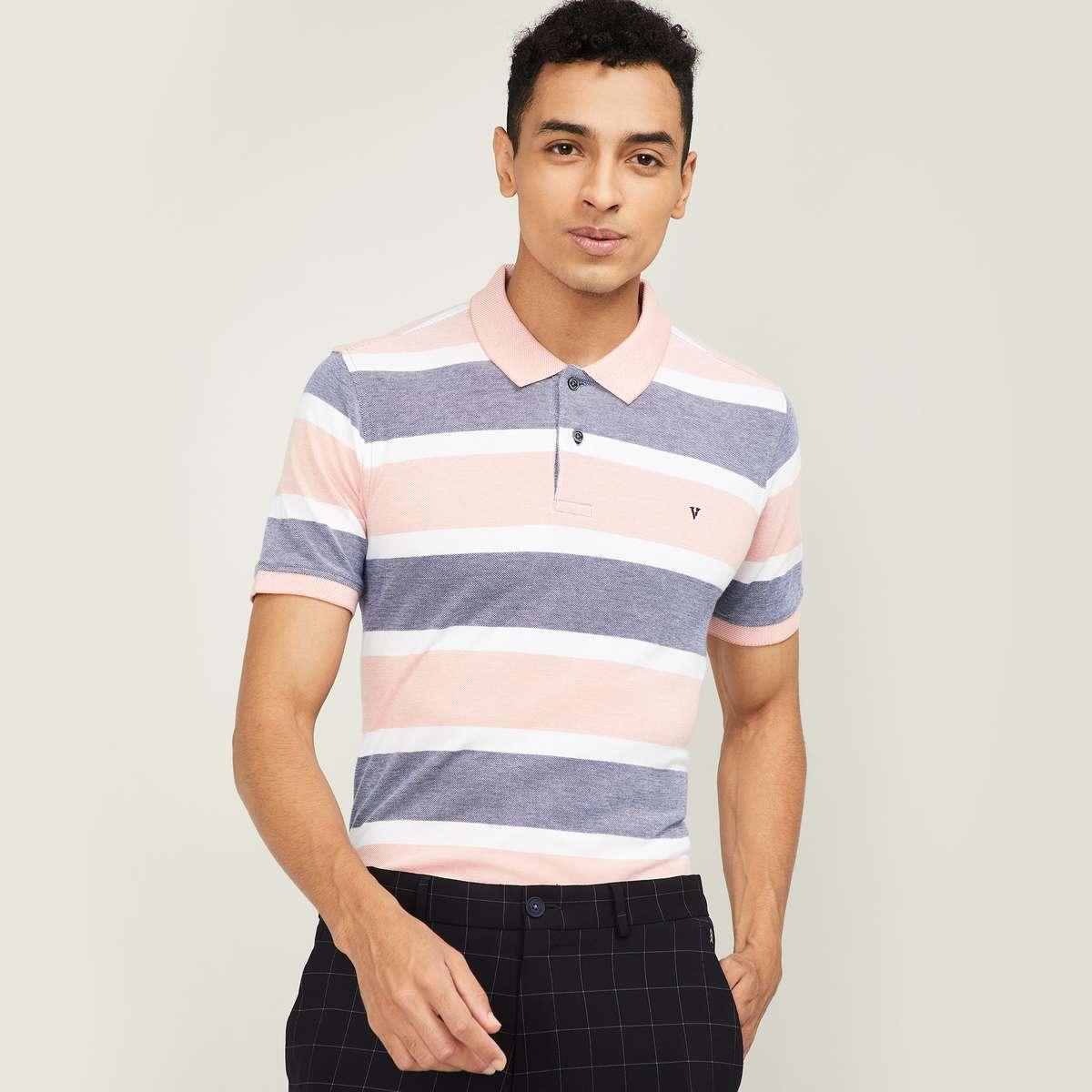 VH SPORTS Men Striped Short Sleeves Regular Fit Polo T-shirt