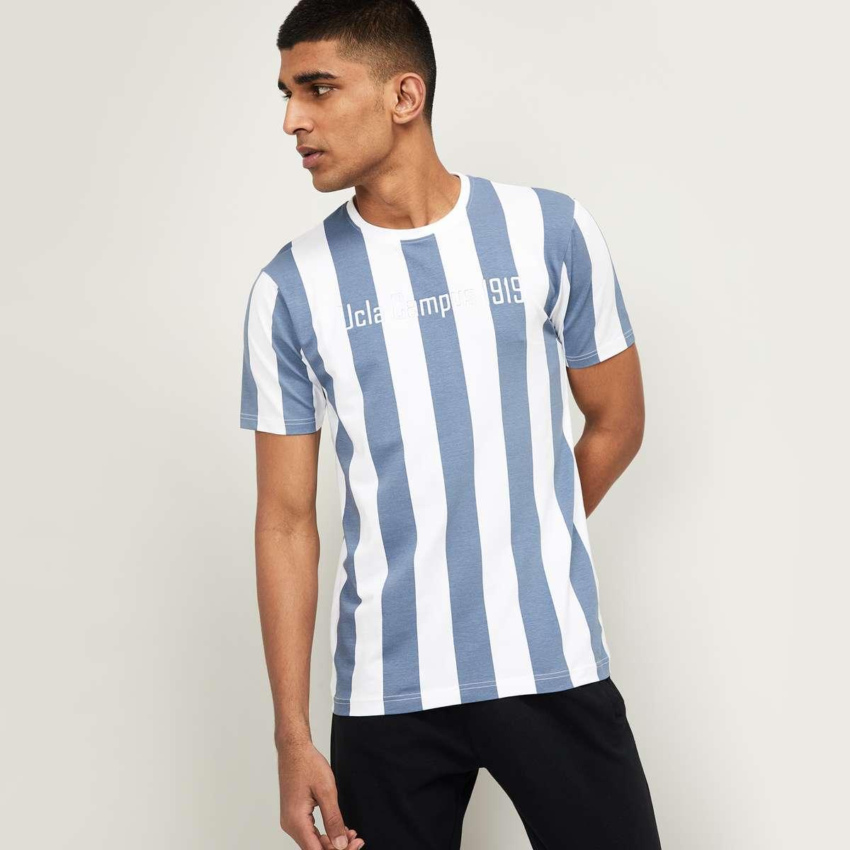 UCLA Men Typographic Print Regular Fit Striped T-shirt