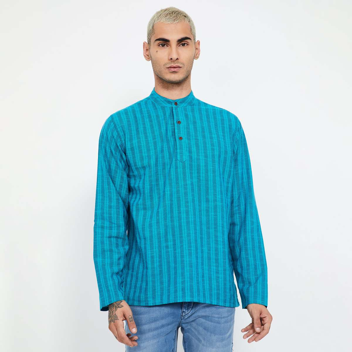 MELANGE Striped Band Collar Shirt Kurta