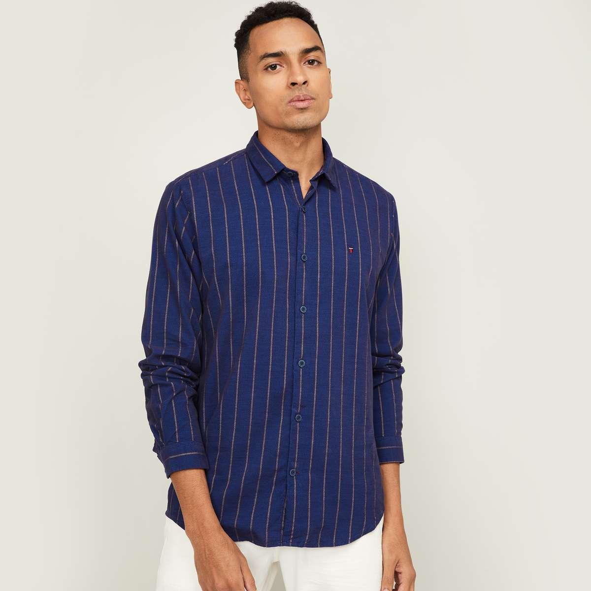 LP SPORT Men Striped Full Sleeves Super Slim Fit Casual Shirt