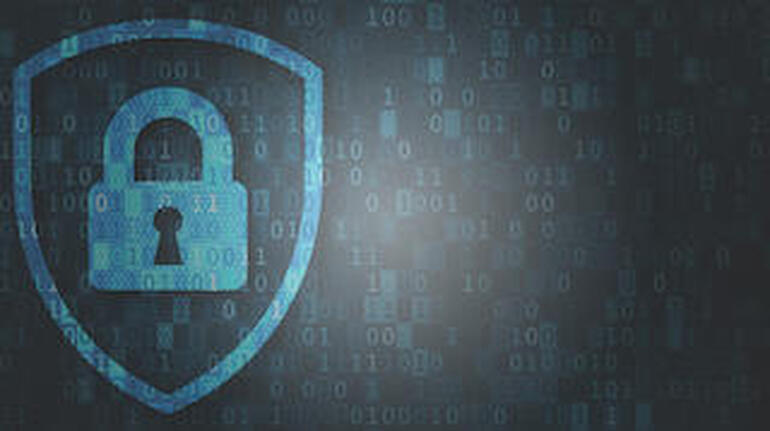 Cybersecurity and data privacy protection concept, lock, binary digits background