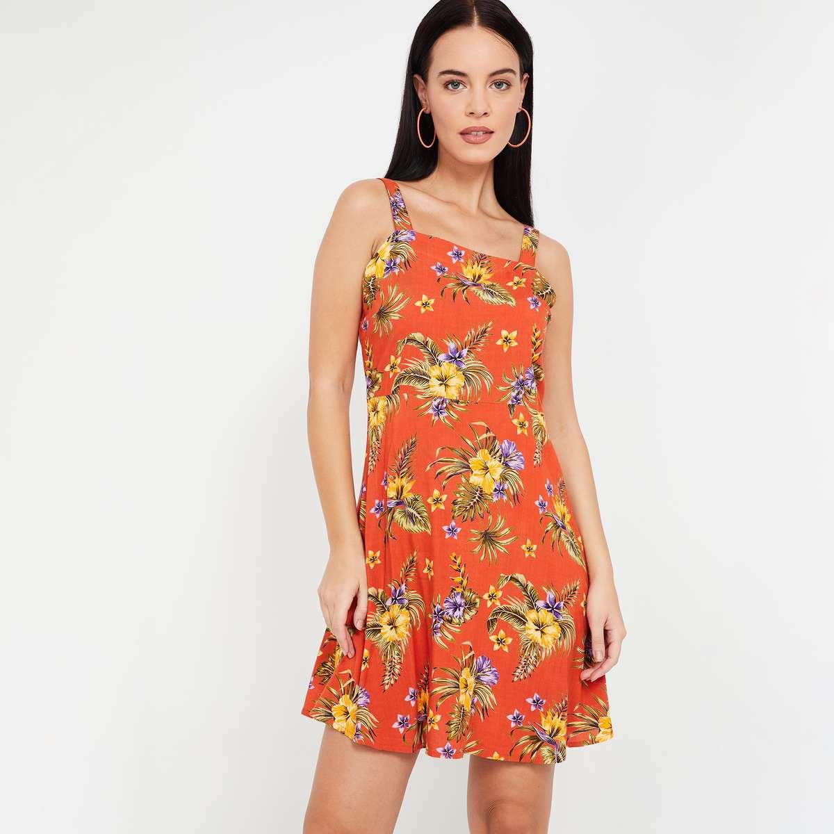GINGER Floral Print A-line Dress