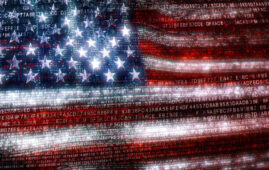American flag made of binary code