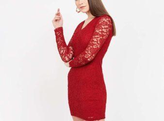 GINGER V-Neck Lace Overlay Bodycon Dress