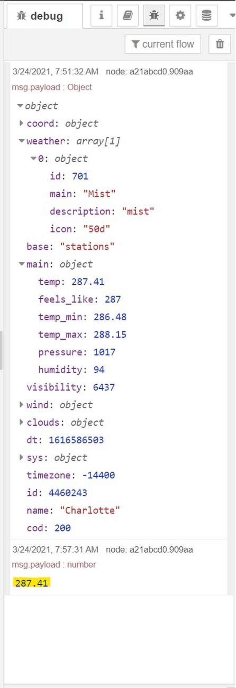 screenshot of API code