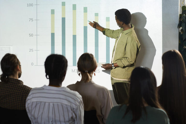 Man giving a PowerPoint presentation