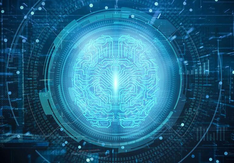 Artificial Intelligence project creating. Abstract concept of cyber technology, machine learning.Brain of AI. Futuristic Innovative technology in science concept