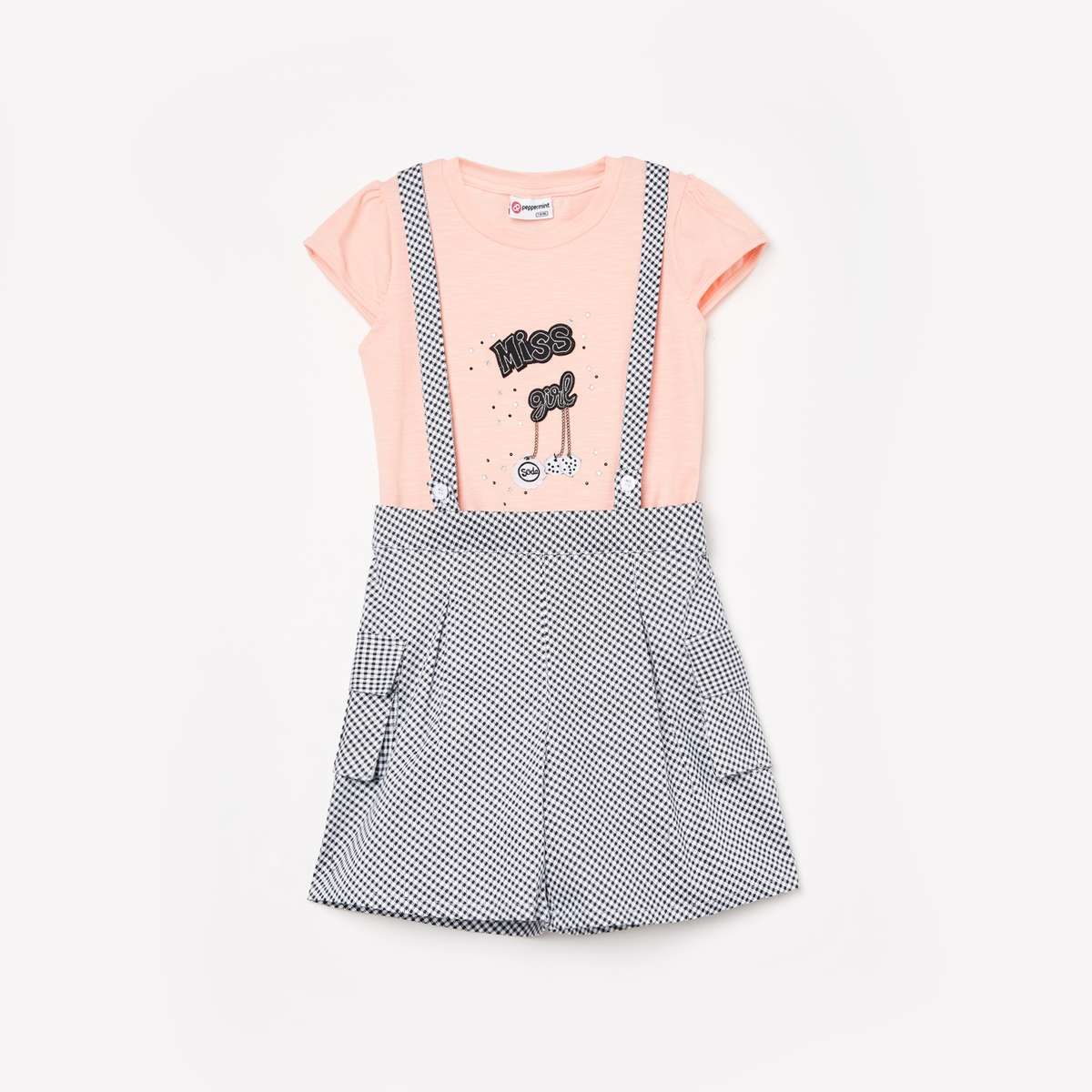 PEPPERMINT Girls Dungaree with Printed Top
