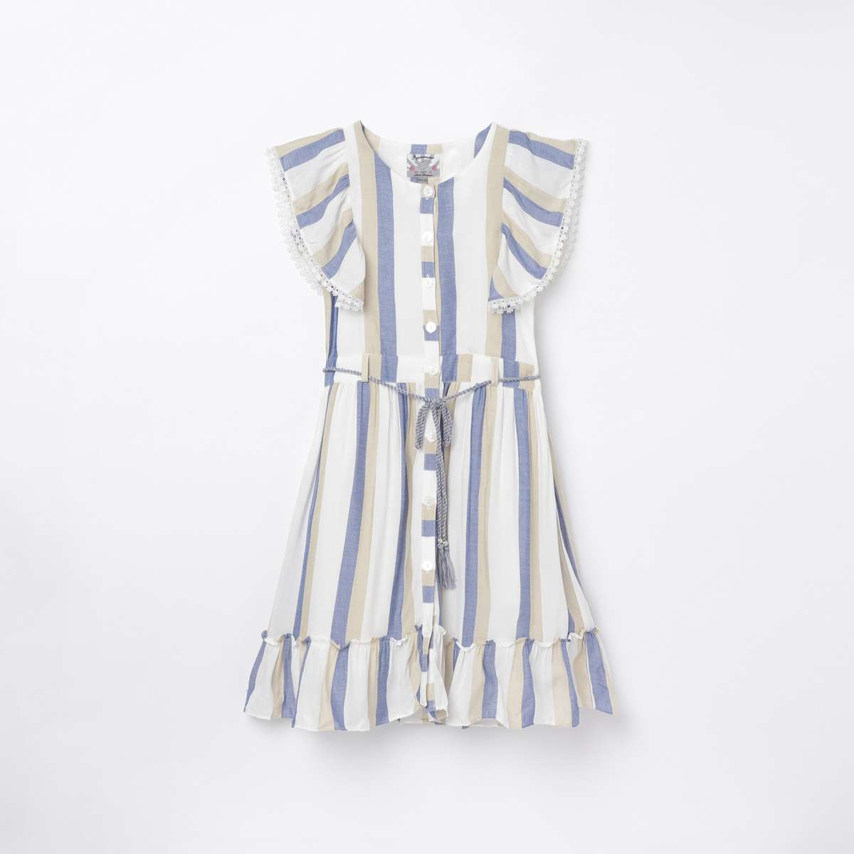 PEPPERMINT Girls Striped A-line Dress with Ruffles
