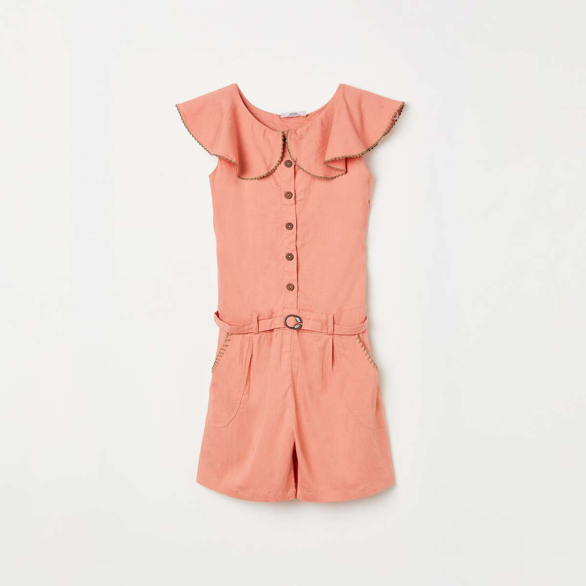 PEPPERMINT Girls Solid Playsuit with Ruffle Detail