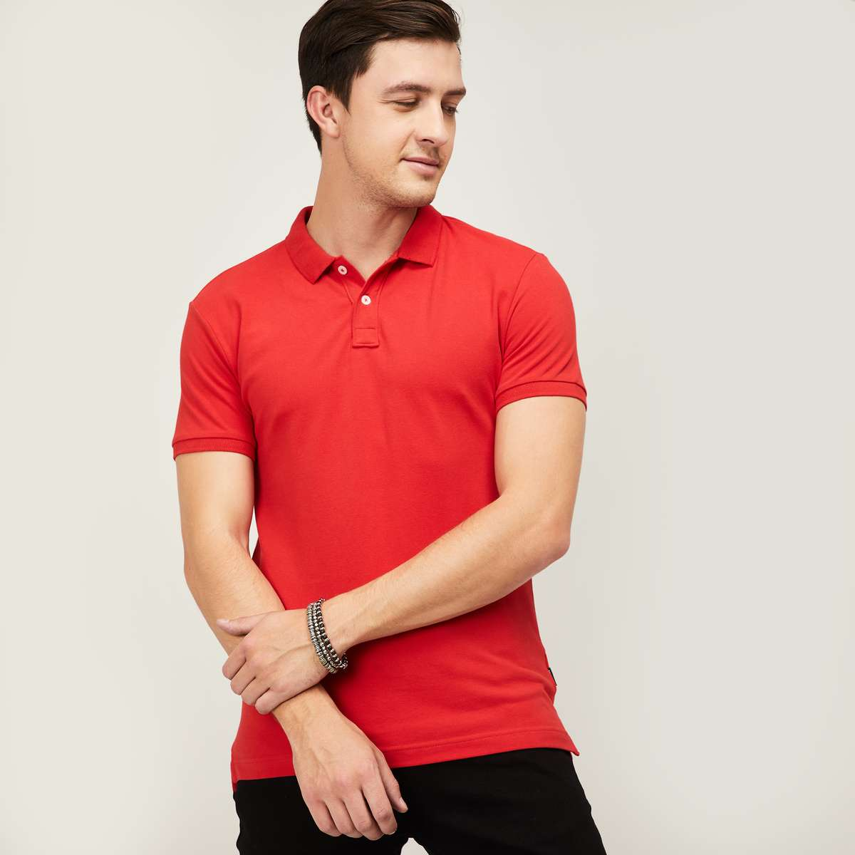 DENIMIZE Men Solid Regular Fit Polo T-shirt