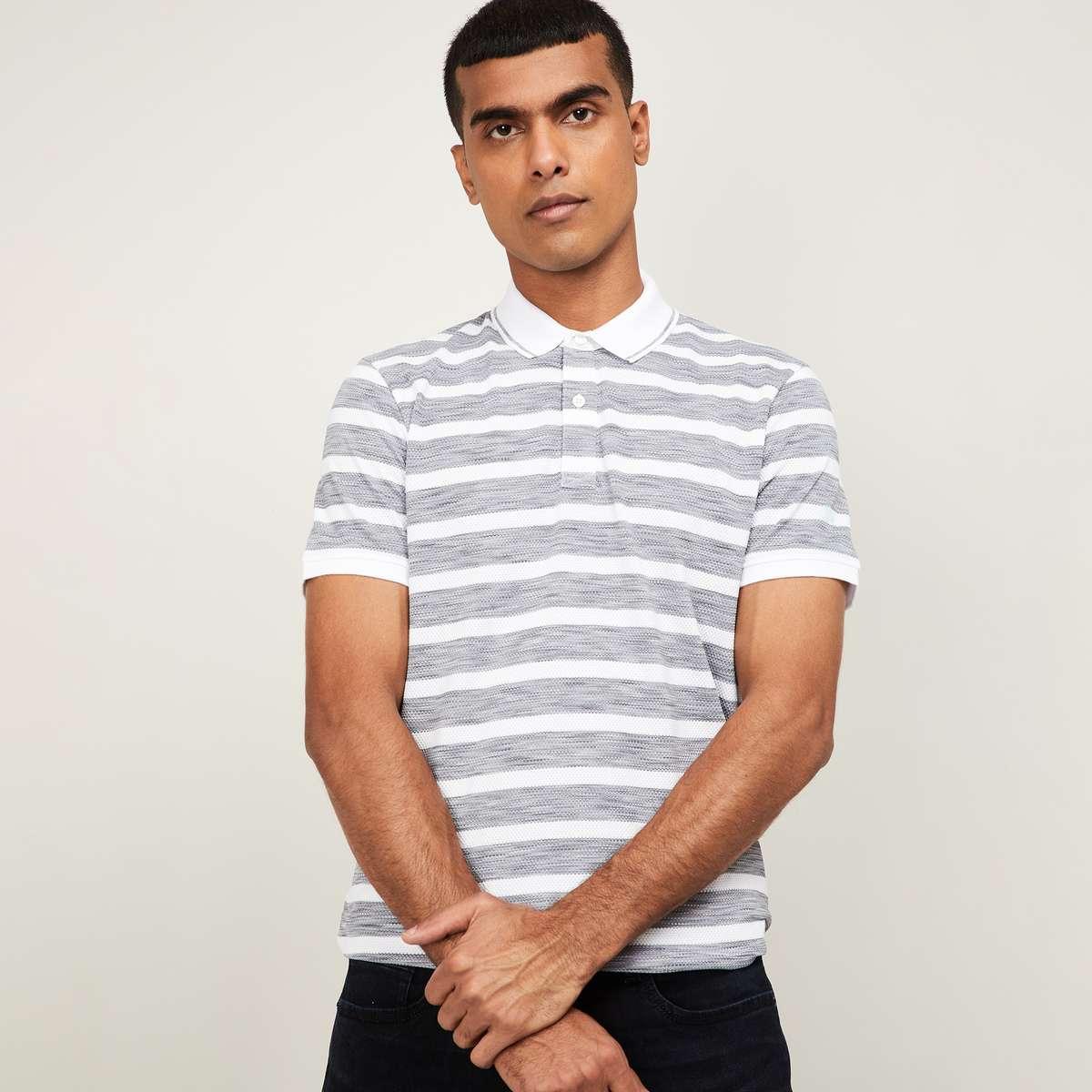 FAME FOREVER Men Striped Regular Fit Polo T-shirt