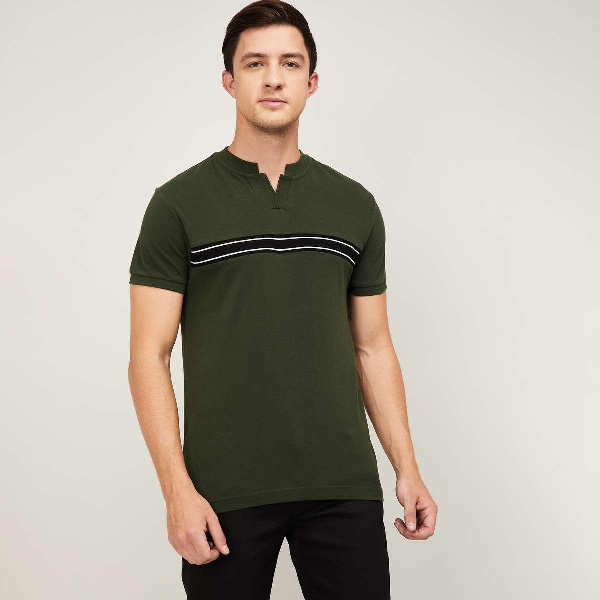 DENIMIZE Men Striped Regular Fit Polo T-shirt