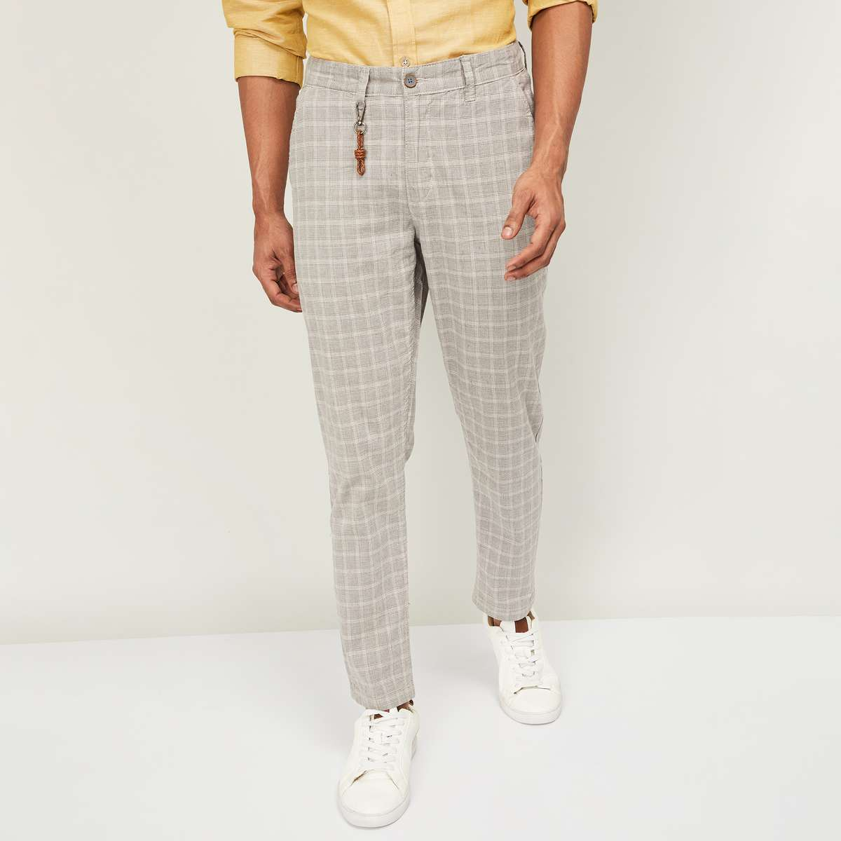 CODE Men Checked Slim Tapered Casual Trousers