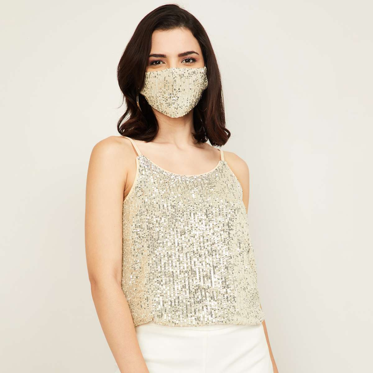 CODE Women Sequin Embellished Sleeveless Top with Mask