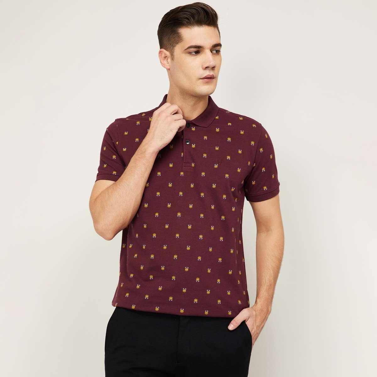 ALLEN SOLLY Men Printed Smart Casual Polo T-shirt