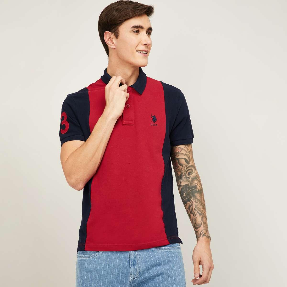 U.S. POLO ASSN. Men Colourblocked Polo T-shirt