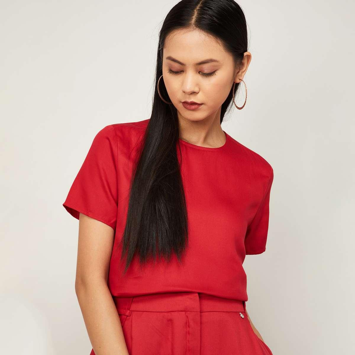 VAN HEUSEN Women Solid Short Sleeves Top