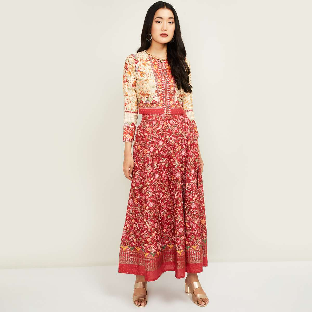 W Women Printed Ethnic Crop Top with Elasticated Maxi Skirt