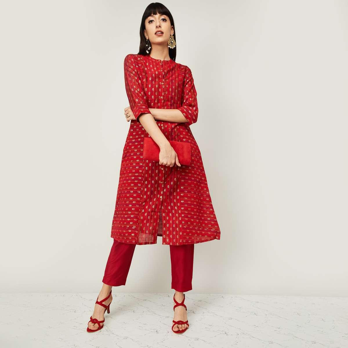 MELANGE Women Embroidered Kurta with Solid Salwar