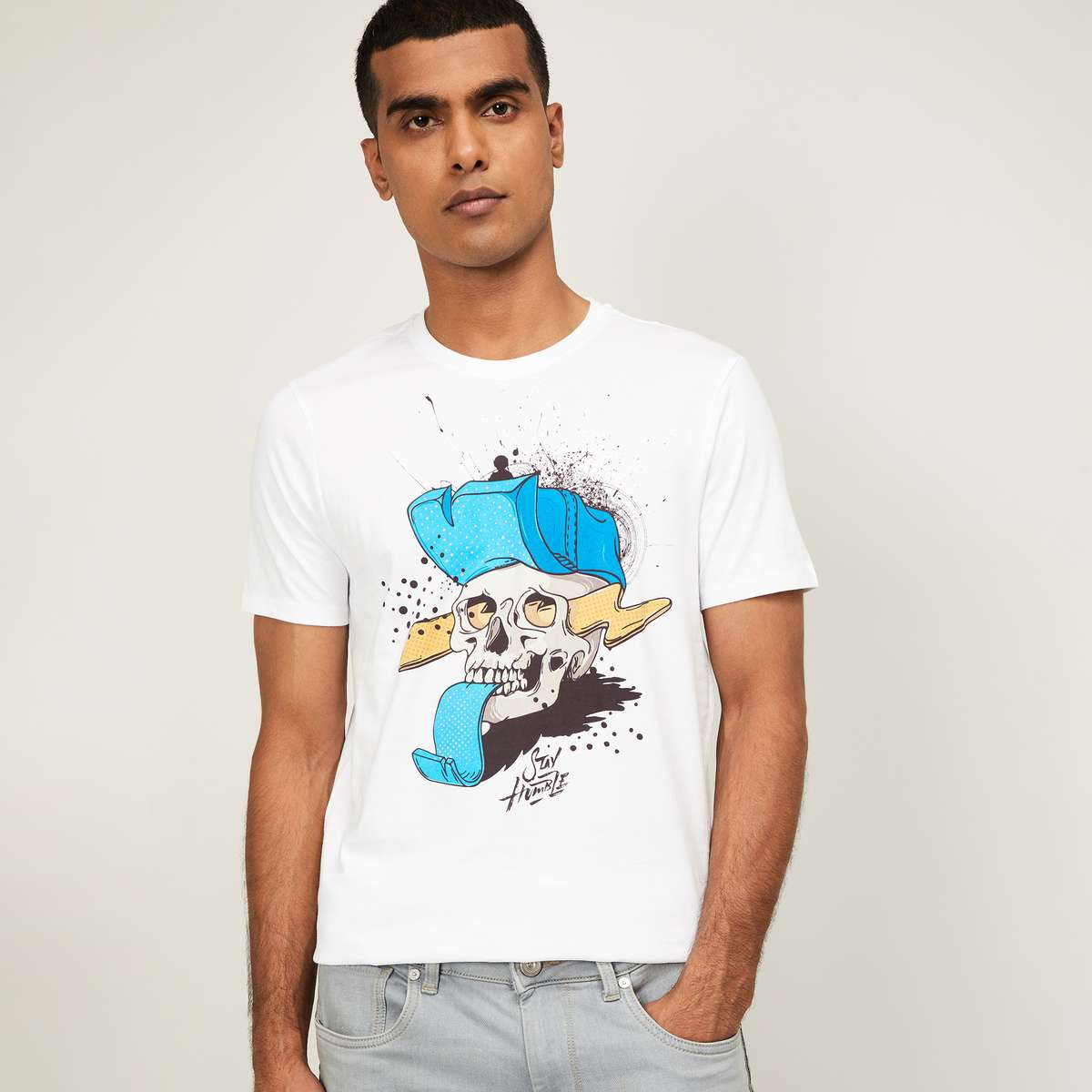 4.FORCA Men Printed Regular Fit Crew Neck T-shirt