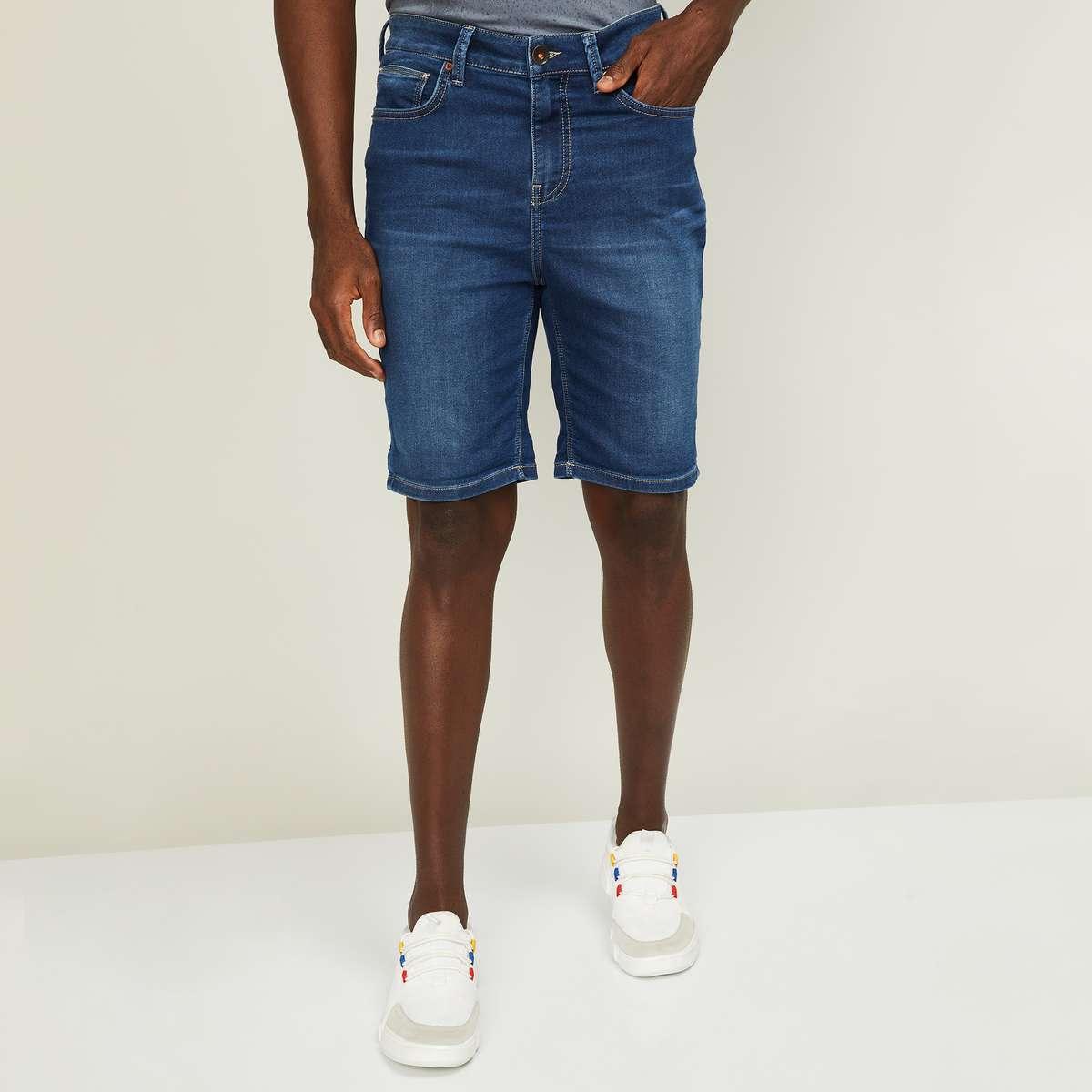 2.UNITED COLORS OF BENETTON Men Stonewashed Slim Fit Denim Shorts