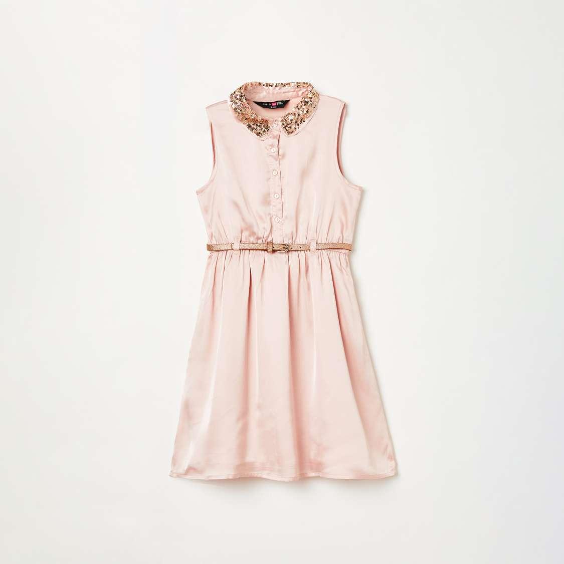 2.PRETTY ME Girls Sequin Embellished A-line Dress