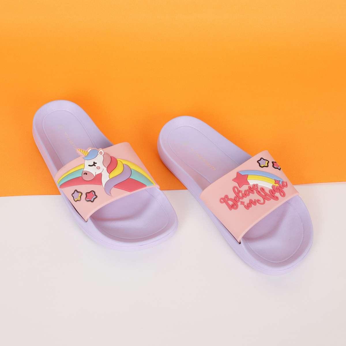 3.FAME FOREVER Girls Unicorn Applique Sliders