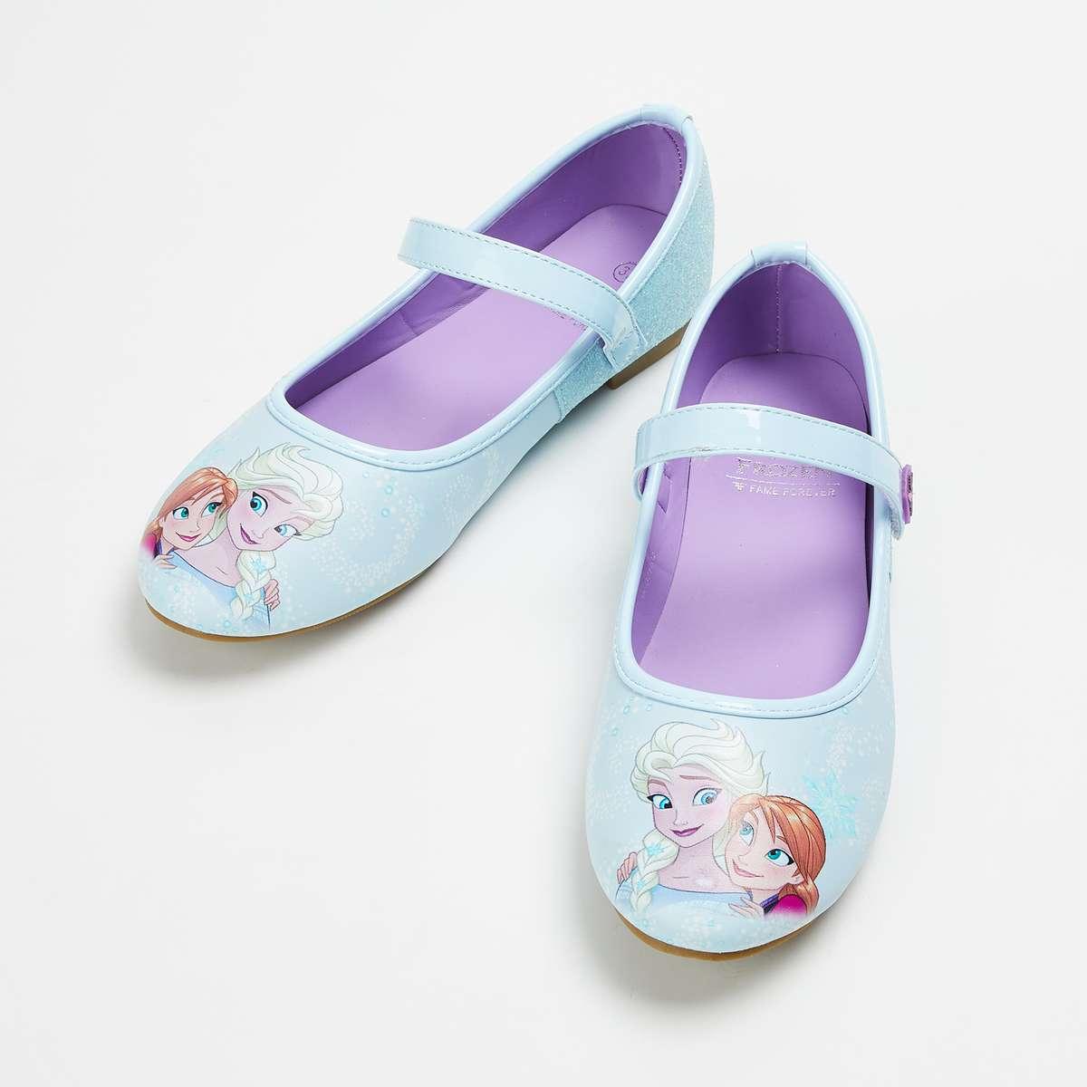 4.FAME FOREVER Girls Printed Velcro Strap Ballerina Flats