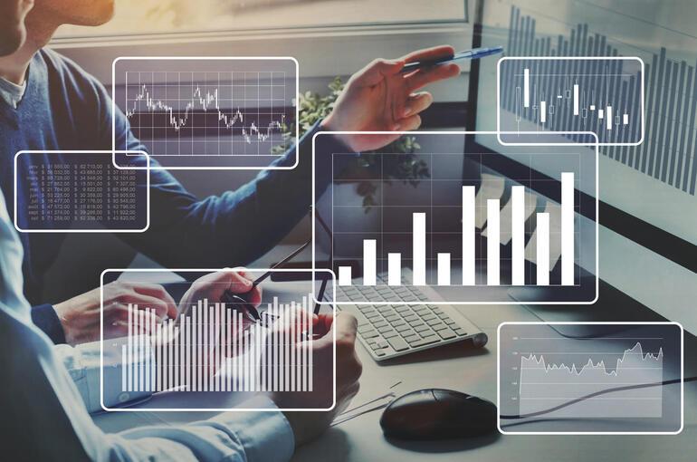 Big data analytics, financial charts, business team working on computer.