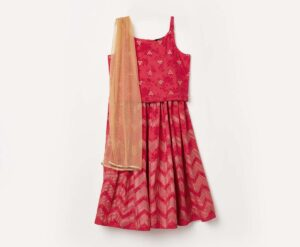 1-MELANGE Girls Printed Ethnic Blouse with A-Line Lehenga and Dupatta