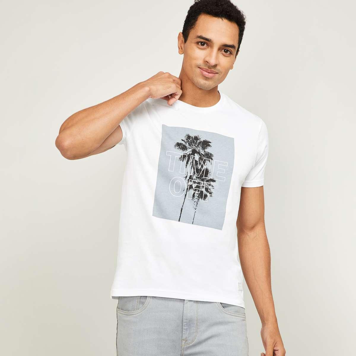BOSSINI Men Graphic Print Regular Fit Crew Neck T-shirt