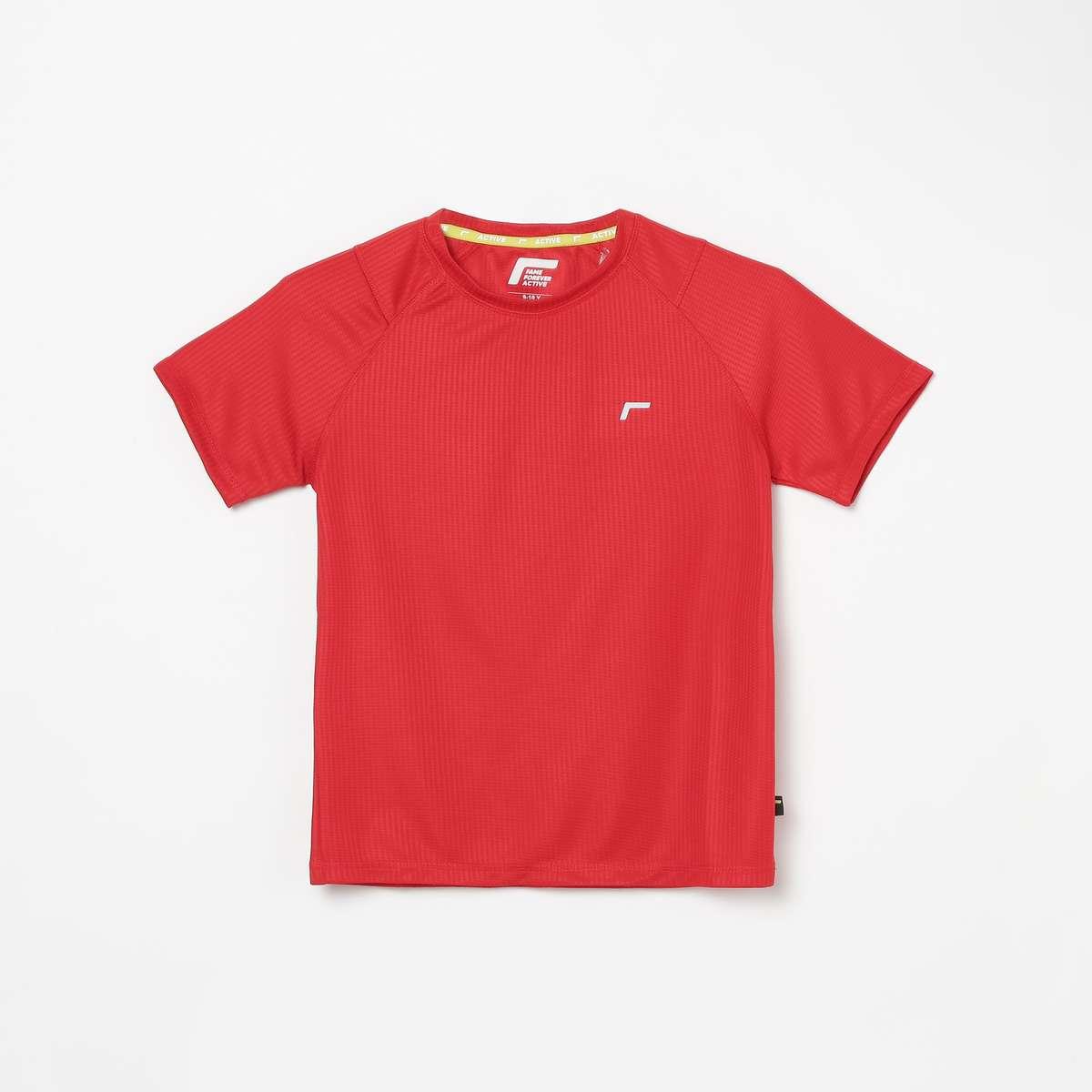 1.FAME ACTIVE Boys Textured Crew Neck T-shirt