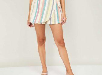 2.GINGER Women Striped Shorts