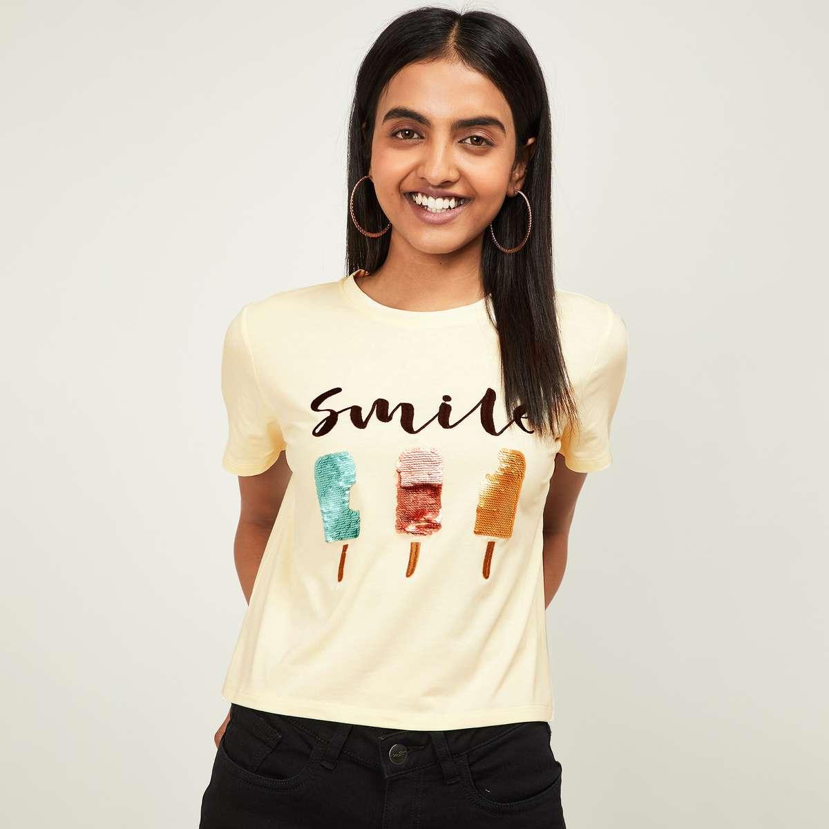GINGER Women Sequinned Round Neck T-shirt