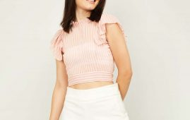 1.GINGER Women Striped Crop Top with Ruffled Sleeves
