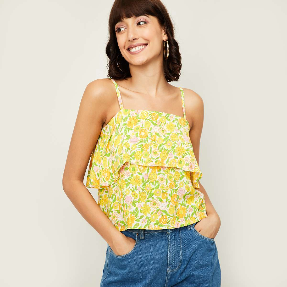 2.GINGER Women Floral Print Layered Spaghetti Top
