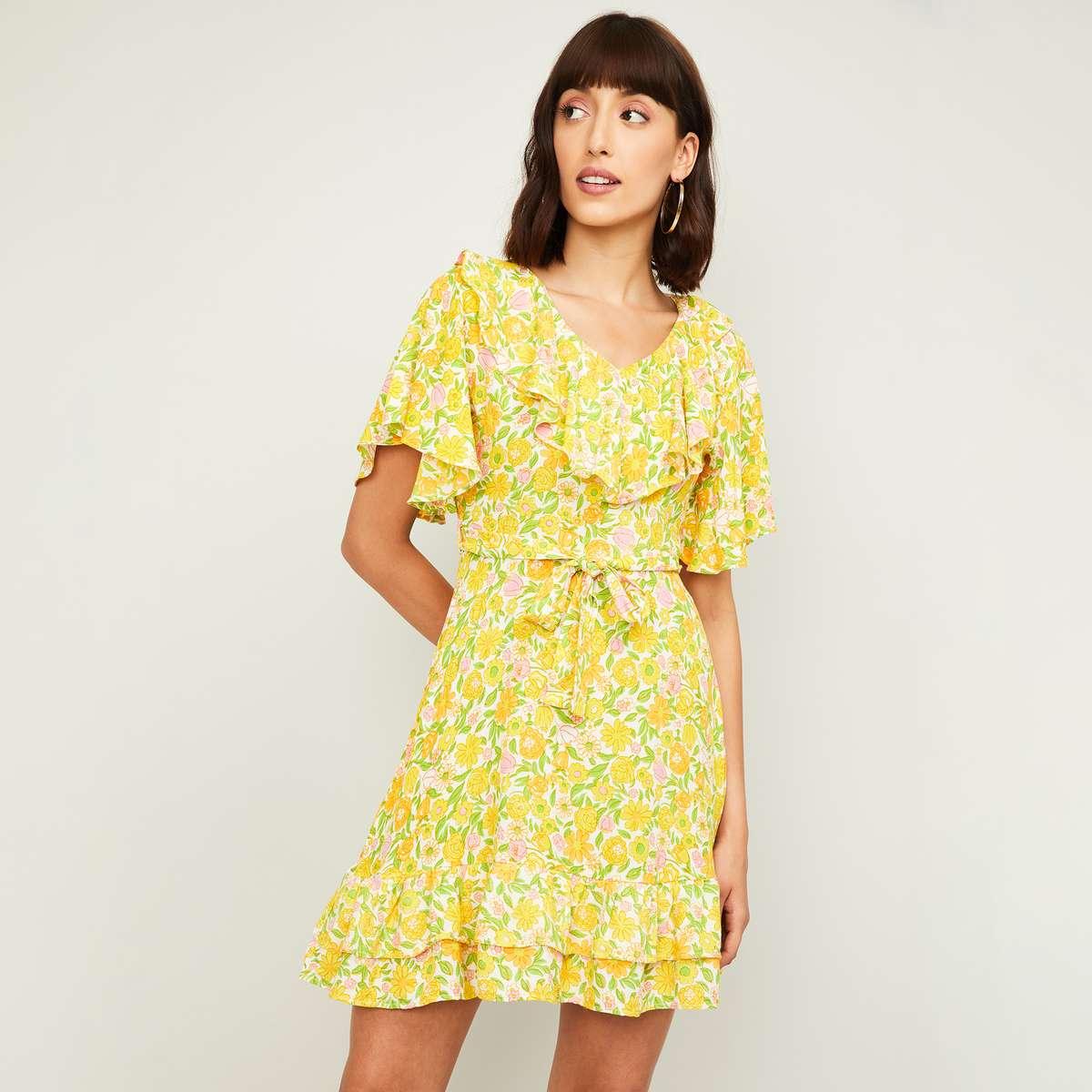 5.GINGER Women Floral Printed A-Line Dress