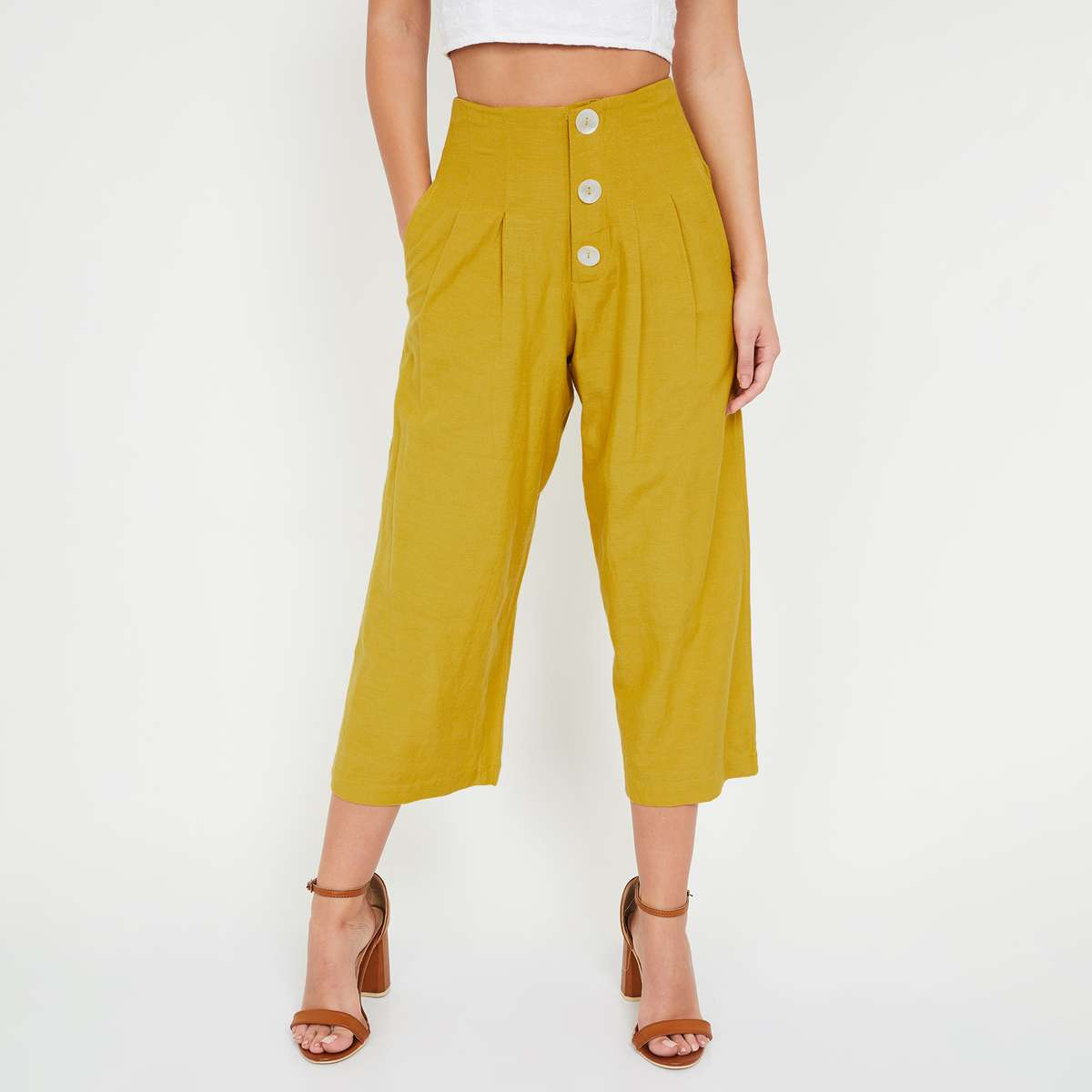 4.GINGER Solid Pleated Culottes