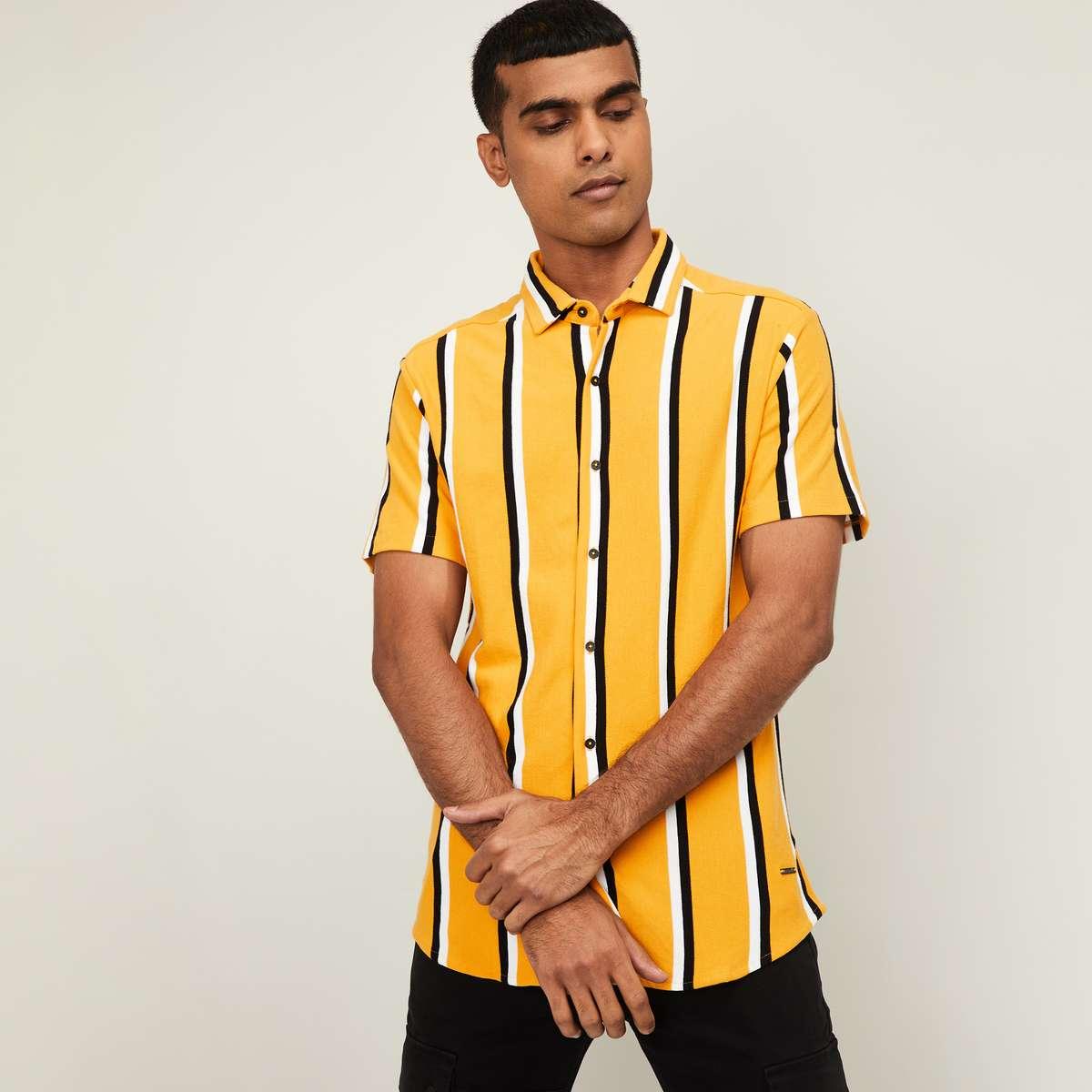 1.BOSSINI Men Striped Regular Fit Casual Shirt