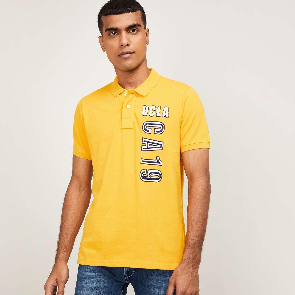 2.UCLA Men Typographic Print Regular Fit Polo T-shirt