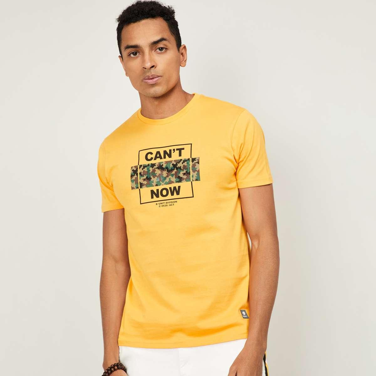 3.BOSSINI Men Typographic Print Regular Fit Crew Neck T-shirt