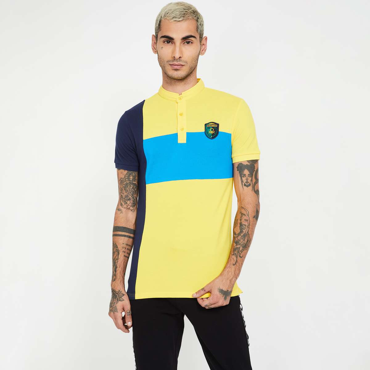 7.UNITED COLORS OF BENETTON Colourblock Regular Fit Polo T-shirt
