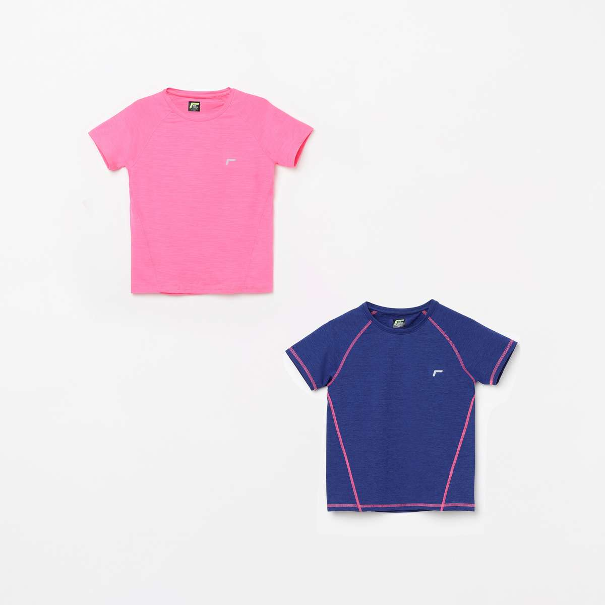 FAME ACTIVE Girls Textured Round Neck T-shirt - Pack of 2