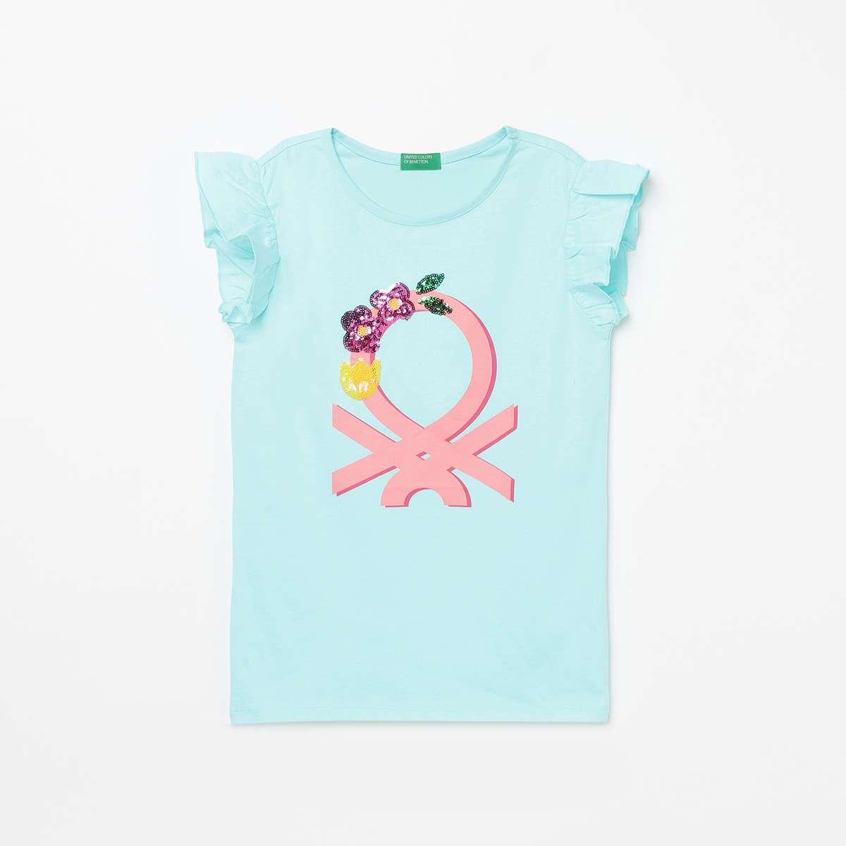 UNITED COLORS OF BENETTON Girls Embellished Round Neck T-shirt