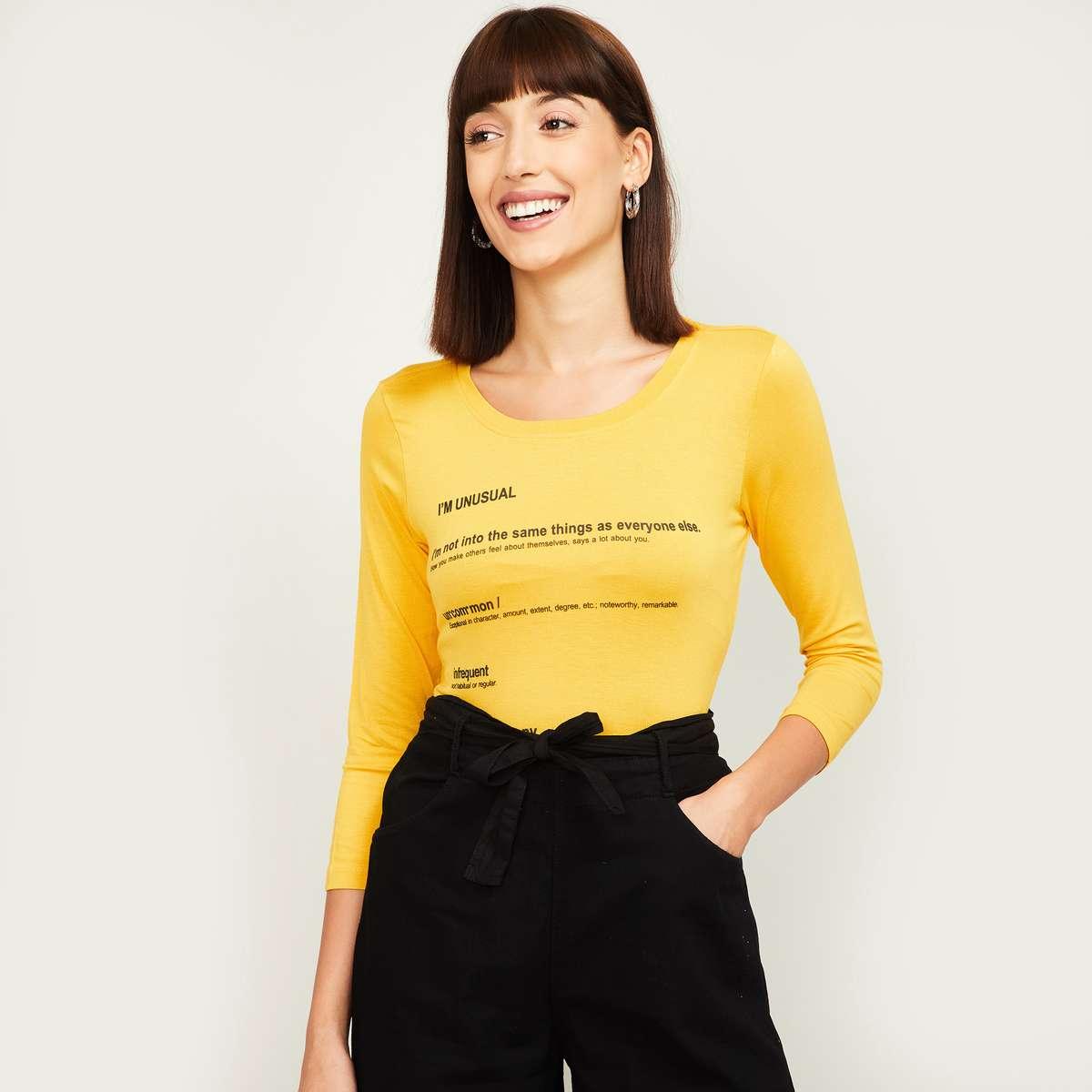 1.FAME FOREVER Women Typographic Print Three-quarter Sleeves T-shirt